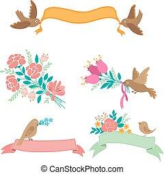 bandeiras, flores, pássaros