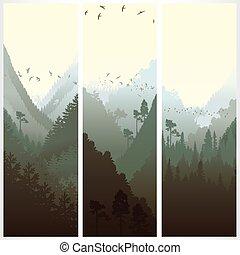 bandeiras, floresta, vertical