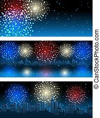 bandeiras, fogos artifício