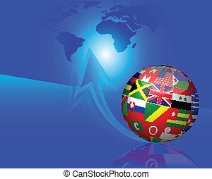 bandeiras, globo, ligado, azul, seta, backgroun