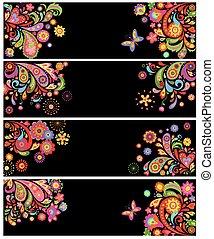 bandeiras horizontais, com, abstratos, padrão floral