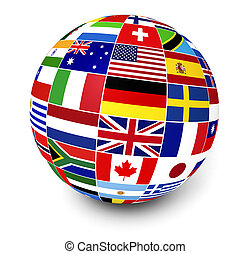 bandeiras internacionais, negócio, mundo