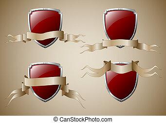 bandeiras, jogo, escudos