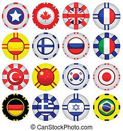 bandeiras, ligado, cassino, tokens