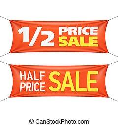 bandeiras, metade, preço, venda