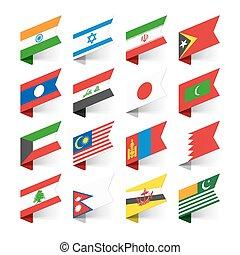 bandeiras, mundo, ásia