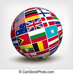 bandeiras mundo, em, globe., vetorial, illustration.