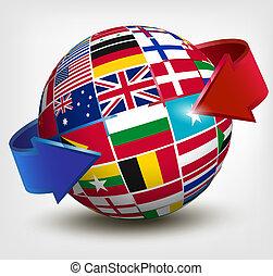 bandeiras mundo, em, globo, com, um, arrow., vetorial, illustration.