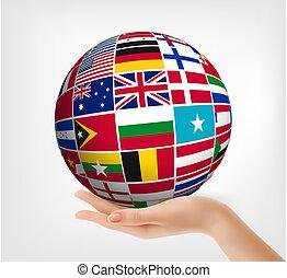 bandeiras mundo, em, globo, e, mão., vetorial, illustration.