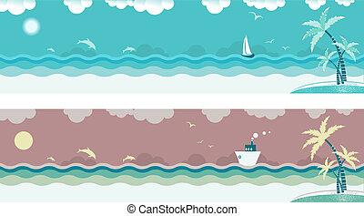 bandeiras, palmas mar, ondas, island., vetorial, seascape, natureza