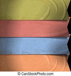 bandeiras, retro, papel, antigas, fitas, feito