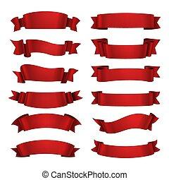 bandeiras, stylized, lustroso, imagem, decorativo, isolado, vazio, ilustração, branca, experiência., realístico, isolated., fita, vermelho, vetorial