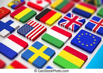 bandeiras, teclado