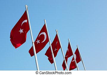 bandeiras, vermelho, turco