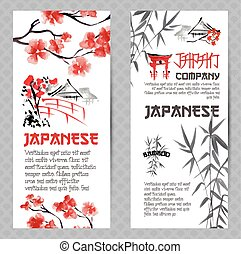 bandeiras verticais, ou, voadores, conceitos, set., japoneses, cereja vermelha, flor, ramo, flor, e, bambu, silueta