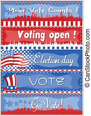 bandeiras, vetorial, -, eleição, dia