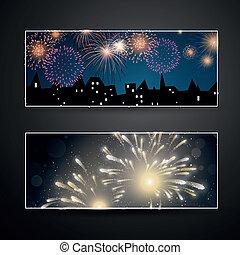 bandeiras, vetorial, fogos artifício