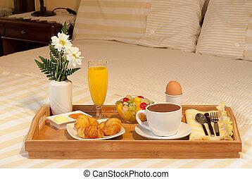 bandeja, de, desayuno, en, la, cama
