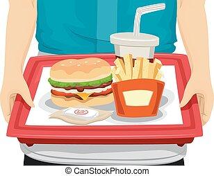 bandeja del alimento, rápido, manos