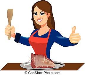 bandeja, feliz, asado, mujer, housewi