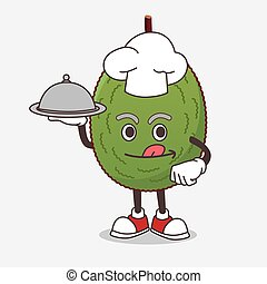 bandeja, mascote, alimento, jaca, caricatura, pronto, saque, cozinheiro, personagem