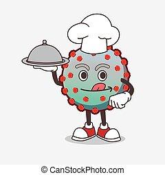 bandeja, personagem, caricatura, vírus, cozinheiro, mascote, saque, pronto, alimento