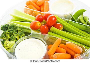 bandeja, primer plano, veggie, crudo