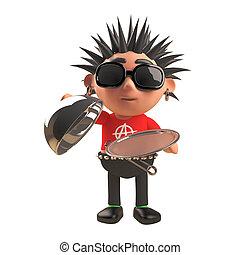 bandeja, roca del punk, servicio, tenencia, carácter, caricatura, tapa, plata, ilustración, 3d