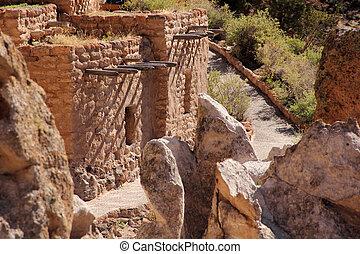 Bandelier National Monument - Pueblo Ruins in Bandelier...