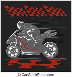 bandera, a cuadros, carreras, pista, motocicleta