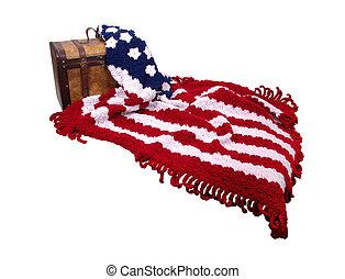 bandera, afgan, y, de madera, tronco