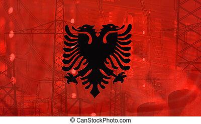 bandera albania, tecnología, ambiente, concepto