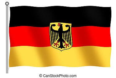 bandera alemana, con, emblema