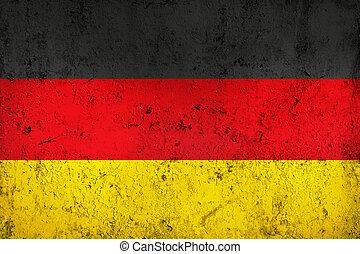 bandera alemana, grunge, sucio, resistido