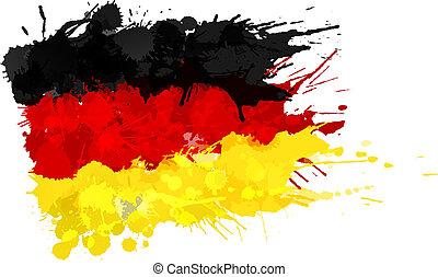 bandera alemana, hecho, salpicaduras, colorido
