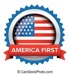 bandera, ameryka, odznaka, usa, pierwszy
