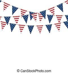 bandera, ameryka, trójkąt, girlanda