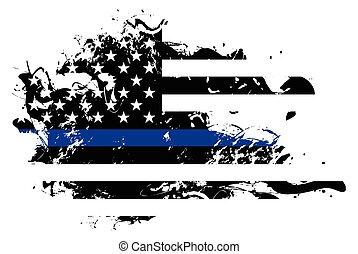 bandera, apoyo, policía, resumen, ilustración