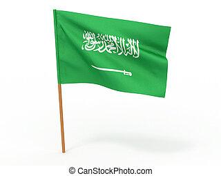 bandera, arabia., saudí, 3d