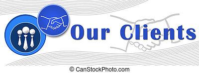 bandera, azul, nuestro, -, clientes