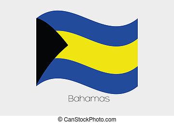 bandera, bahamas, 3d, país, isométrico, ilustración