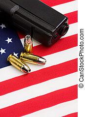 bandera, balas, arma de fuego