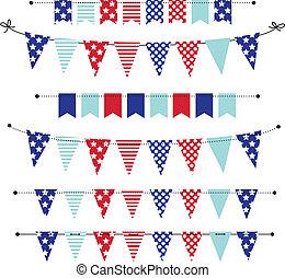 bandera, banderitas, o, banderas, en, rojo blanco y azul, patriótico, colores