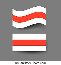 bandera, belarusian, blanco, fondo.