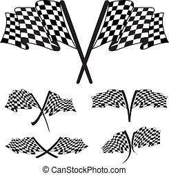 bandera, biegi, ilustracja