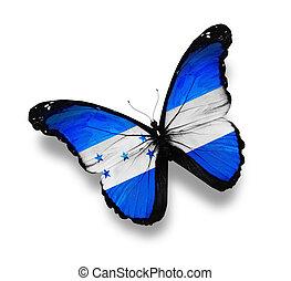 bandera, blanco,  honduras, aislado, mariposa