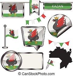 bandera, brillante, kazan, iconos