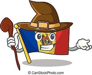 bandera, bruja, mascota, moldova, carácter, caricatura