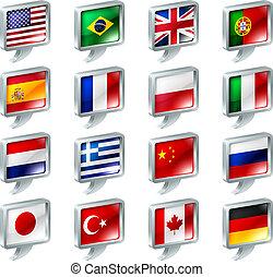 bandera, burbuja del discurso, iconos, botones