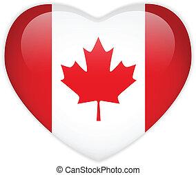 bandera canadá, corazón, brillante, botón
